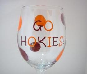 Hokie Wine Glass Handpainted Oversized Personalized