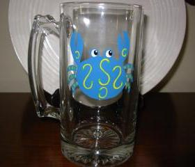 Crab Beer Mug Handpainted Personalized