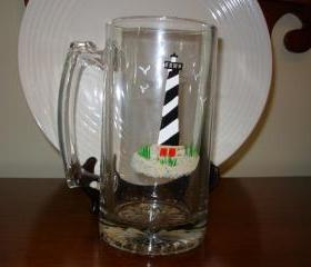 Cape Hatteras Lighthouse Beer Mug Handpainted