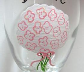 Bridal Bouquet Wine Glass Handpainted for Wedding Party