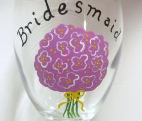 Bridesmaid Wine Glass Handpainted Personalized