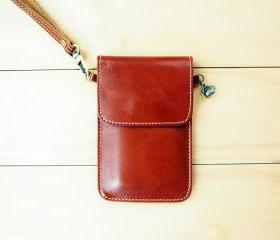 iPhone case, Leather bag with hand strap, Natural Brown