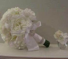 Real Touch Bridal Bouquet - White Peonies and Roses
