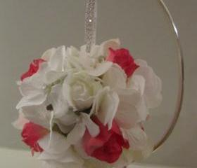 Silk Flower Girl Pomander - White Hydrangea and Fuchsia Rosebuds with Rhinestone Handle
