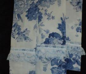 Decorative Victorian shabby chic Kitchen/Guest towels. Blue Floral Pattern,created from vintage fabric