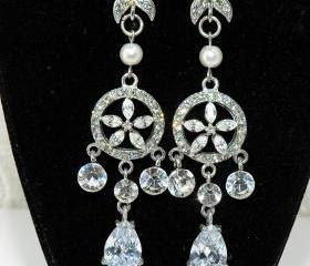 SALE Art Deco Chandelier Rhinestone Earrings - Diamante Chandelier Earrings, Wedding Jewellery, Bridal Earrings - Bridal Accessories