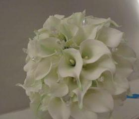 Real Touch White Calla Lily Bridal Bouquet