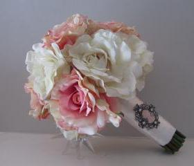 Real Touch Bridal Bouquet - Antique Rose and Ivory with Cameo Brooch