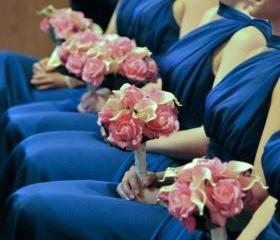 Real Touch Bridesmaid Bouquet - Pink and Fuchsia Roses and Calla Lilies