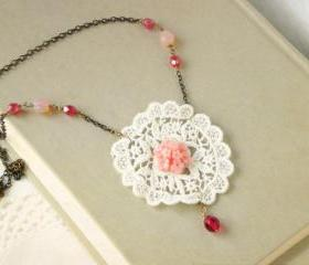 Emma necklace - 'Treasures' collection, lace doily vintage retro style, white and pink