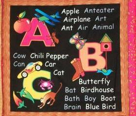 ABC Alphabet Soft Cloth Fabric Book, Blackboard Style