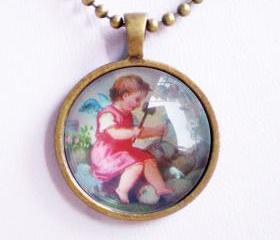Little Angel Necklace, Tiny Angel Playing with Stone, Vintage Image Accessory