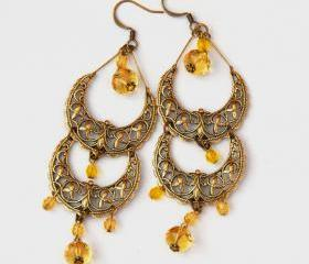 Yellow Antique Brass Filigree Beaded Earrings by Kashmira Patel