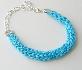 silk bracelet in aqua