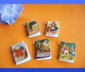 Alice in Wonderland Miniature Book Charms Set of 5