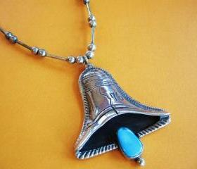 Vintage Liberty Bell Necklace Pendant Turquoise and Sterling Silver