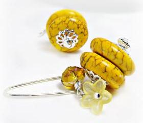 Yellow Magnesite Turquoise Earrings- Yellow Jewelry-Summer Jewelry- Czech Crystal Jewlery-Flower Earrings-Flower Jewelry-