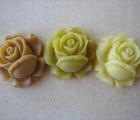 3PCS - Mixed Yellows - Resin Rose Flower Cabochons - 26mm - Matte Finish - Cabochons by ZARDENIA