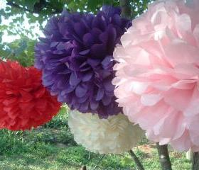 Party decorations. 3 Tissue Paper Pom Poms. Choose your colors