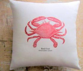 Beach Pillow, Red Crab, Nautical, Ocean, Cottage Decor, Beach Decor