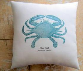 Beach Pillow, Blue Crab, Nautical, Ocean, Beach Decor, Cottage Decor