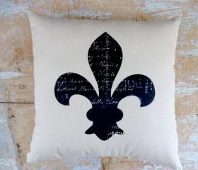 Fleur de Lis Pillow, French , Paris Decor, French Country Home, Cottage Decor