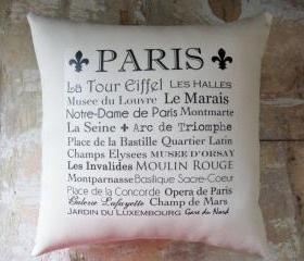 Paris Pillow, Typography, French Country Decor, Paris Decor, Cottage Decor