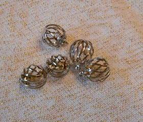 Silver Round Cage Charms