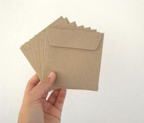 set of 50 recycle kraft paper gift bag square 9.5cmX9.5cm 1110g. great for card or organizer your stationary