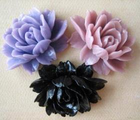 3PCS - Ruffle Roses - 45x35mm - Lilac, Black and Mauve - Cabochons by ZARDENIA
