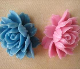 2PCS - Ruffle Roses - 45x35mm - Pink and Blue - Cabochons by ZARDENIA