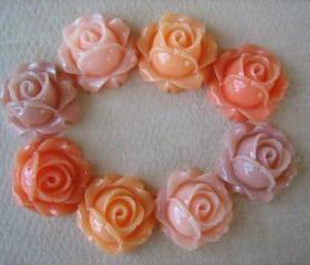 8PCS - Cabbage Rose Flower Cabochons - 15mm - Resin - Peach Pastels - Findings by ZARDENIA