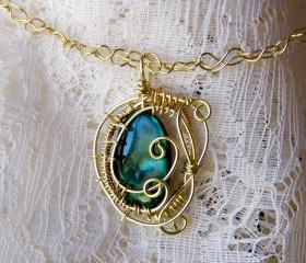 Necklace - Solid Brass Wire Wrapped - Green Shell