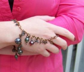 Slave Bracelet and Ring - Solid Antiqued Copper Wire and Saphire or Indicolite blue, AB coated Crystal Bicones