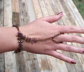 Slave Bracelet and Ring - Solid Antiqued Copper Wire - Saphire or Indicolite blue, AB coated Crystal Bicones