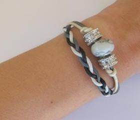 Cosy line beaded and braided bracelets, white and grey, set of 2, european gemstone bead