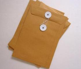 Set of 5 eyelets white string open end flat kraft paper envelopes 125 Gsm. size 6 3/8 X 9 inch
