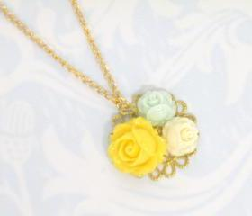 Gold Flora Necklace Maison Dual Gold Tone Resin Roses Flower Long Necklace