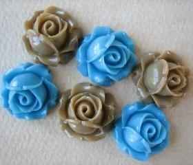6PCS - Cabbage Rose Flower Cabochons - 15mm - Resin - Blue and Latte - Findings by ZARDENIA