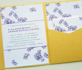 Pocketfold Wedding Invitations - Mulberry Blooms Signature Pocketfold Invitation Suite