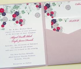 Pocketfold Wedding Invitations - Dancing Blooms In Color Signature Pocketfold Invitation Suite