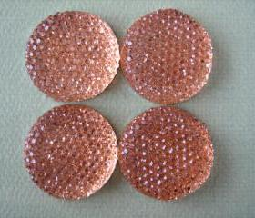 4PCS - Peach - Resin Rhinestone Cabochons - 24mm - Sparkly - Cabochons by ZARDENIA