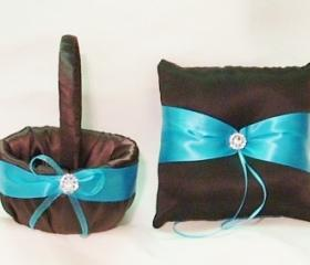 ring pillow and flower girl basket set