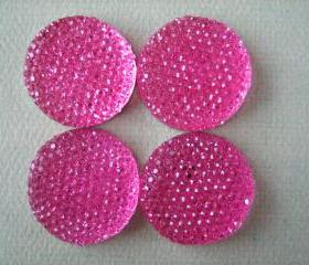 4PCS - Hot Pink - Resin Rhinestone Cabochons - 24mm - Sparkly - Cabochons by ZARDENIA