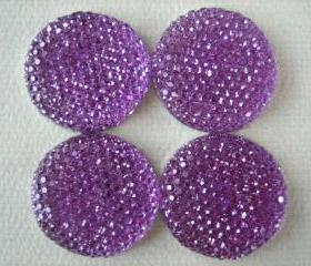 4PCS - Purple Resin Rhinestone Cabochons - 24mm - Sparkly - Cabochons by ZARDENIA
