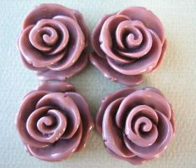 4PCS - Rose Flower Cabochons - 24mm - Sienna - Cabochons by ZARDENIA