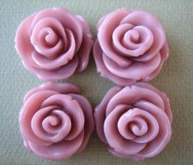 4PCS - Rose Flower Cabochons - 24mm - Rosy Brown - Cabochons by ZARDENIA