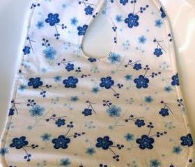 girls baby bib toddler bib blue flowers