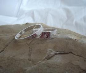 Silver textured rings: A set of personalised square patterned textured sterling silver his and hers rings