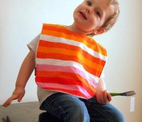 Bright Orange Baby bib Large Toddler Bib Stripes